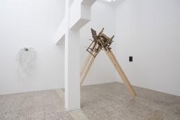 Kostas Rousakis | Pieta, 2017, wood, fabric and clamps, 285X275X135cm