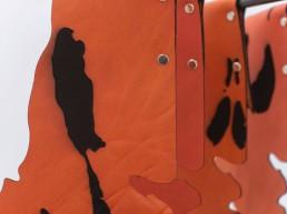 Leontios Toumpouris | Detail, SOM#8, laser engravings on leather, spray dye, mild steel, carbon steel, dimensions variable, 2020